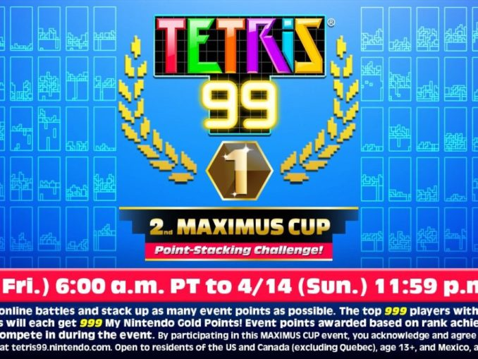 Nieuws - 2de Maximus Cup – Tetris 99 – Start op 12 April