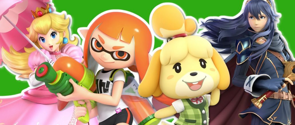 Princess Peach, Lucina, Inkling Girl & Isabelle op Xbox One Dashboards